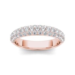 De Couer 14k Rose Gold 1 1/4ct TDW Diamond Women's Wedding Band - Pink