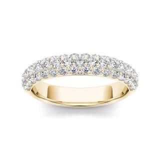 de couer 14k yellow gold 1 14ct tdw diamond womens wedding band - Yellow Diamond Wedding Ring