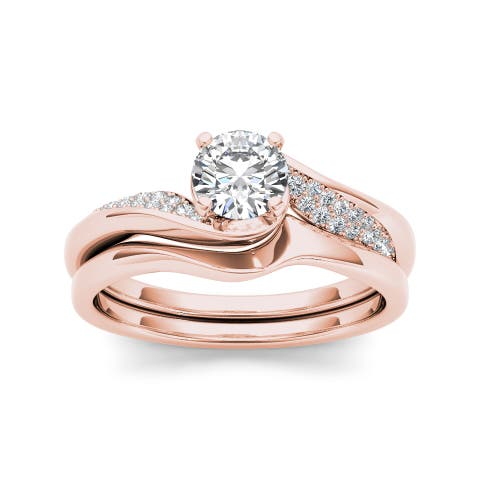 De Couer 14k Rose Gold 5/8ct TDW Classic Diamond Bypass Engagement Ring