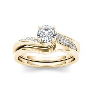De Couer 14k Yellow Gold 5/8ct TDW Classic Diamond Bypass Engagement Ring
