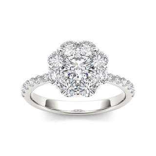 De Couer 14k White Gold 1 3/4ct TDW Diamond Flower-Shaped Halo Engagement Ring