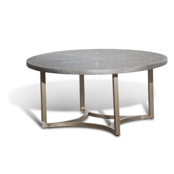 Alta Round Cocktail Table W Slate Grey Top By Michael Amini Free Shipping Today Overstock