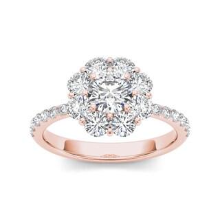 De Couer 14k Rose Gold 1 3/4ct TDW Diamond Flower-Shaped Halo Engagement Ring - Pink