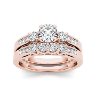 De Couer 14k Rose Gold 1 1/4ct TDW Diamond Three-Stone Engagement Ring Set (H-I, I2)