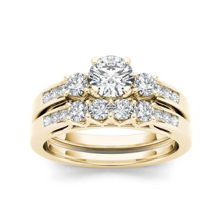 De Couer 14k Yellow Gold 1 1/4ct TDW Diamond Three-Stone Engagement Ring Set