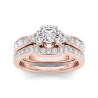 De Couer 14k Rose Gold 1 5/8ct TDW Diamond Classic Engagement Ring Set - Pink