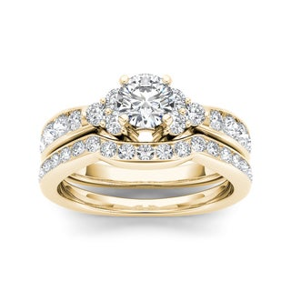 De Couer 14k Yellow Gold 1 5/8ct TDW Diamond Classic Engagement Ring Set