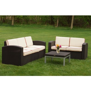Resin Wicker Sofa/ Loveseat/ Table Setting 3-piece Set
