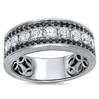 noori 14k white gold mens 1 25ct tdw certified black diamond wedding band - Mens Diamond Wedding Rings White Gold