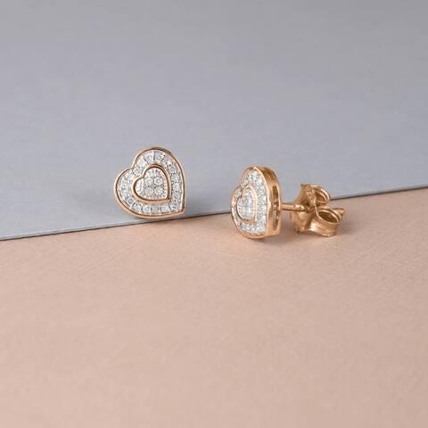 De Couer 10k Rose Gold 1/20ct TDW Diamond Heart Earrings - Pink