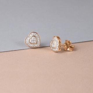 De Couer 10k Rose Gold 1/20ct TDW Diamond Heart Earrings