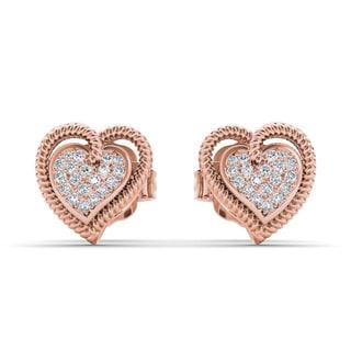 De Couer 10k Rose Gold 1/10ct TDW Diamond Heart Earrings (H-I, I2)