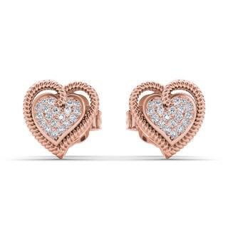 De Couer 10k Rose Gold 1/10ct TDW Diamond Heart Earrings