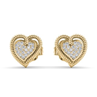 De Couer 10k Yellow Gold 1/10ct TDW Diamond Heart Earrings (H-I, I2)