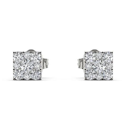 De Couer Sterling Silver 1/5ct TDW Diamond Square-Framed Cluster Earring - White