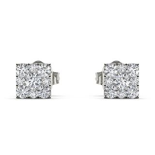 De Couer Sterling Silver 1/5ct TDW Diamond Square-Framed Cluster Earring (H-I, I2)