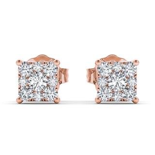 De Couer 10k Rose Gold 1/2ct TDW Diamond Square-Framed Cluster Earring (H-I, I2)