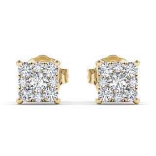 De Couer 10k Yellow Gold 1/2ct TDW Diamond Square-Framed Cluster Earring (H-I, I2)