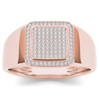 De Couer 10k Rose Gold Men's 1/4ct TDW Diamond Men's Ring (H-I, I2)