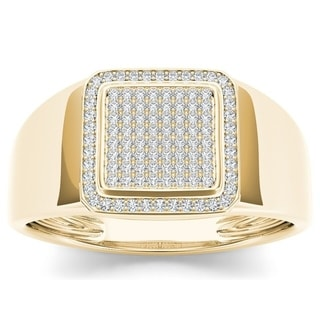 De Couer 10k Yellow Gold 1/4ct TDW Diamond Men's Ring (H-I, I2)