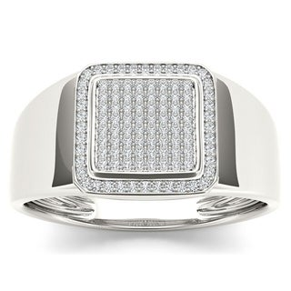 De Couer 10k White Gold 1/4ct TDW Diamond Men's Ring (H-I, I2)