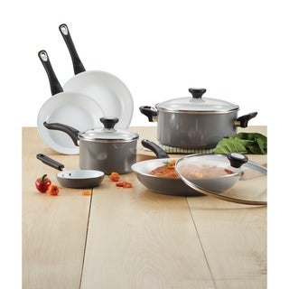 Farberware PureCook Grey Ceramic Nonstick Cookware 12-Piece Cookware Set