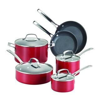 Circulon Genesis Aluminum Nonstick 10-Piece Cookware Set, Red