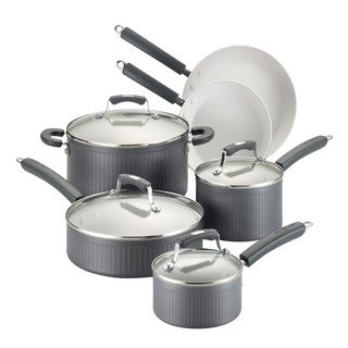 Paula Deen Savannah Collection Hard-Anodized Nonstick 10-Piece Cookware Set, Gray