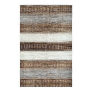 Herat Oriental Afghan Hand-knotted Tribal Vegetable Dye Gabbeh Brown/ Gray Wool Rug (5'2 x 8'2)