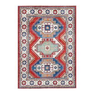Herat Oriental Afghan Hand-knotted Tribal Vegetable Dye Kazak Red/ Ivory Wool Rug (5'9 x 8'4)