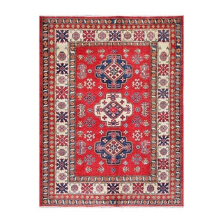 Handmade One-of-a-Kind Vegetable Dye Kazak Wool Rug (Afghanistan) - 6'4 x 8'5