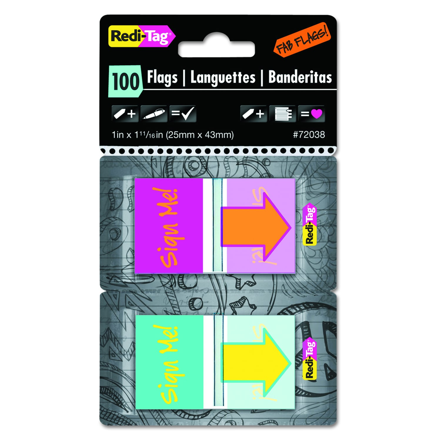 REDI-TAG Pop-Up Sign Me Page Flags w/Dispenser (Red/Orang...