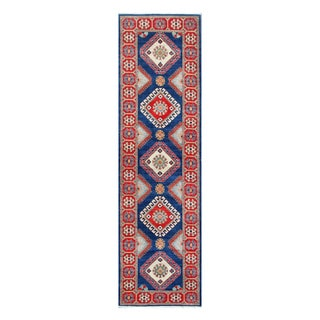 Herat Oriental Afghan Hand-knotted Tribal Vegetable Dye Kazak Navy/ Ivory Wool Rug (2'9 x 9'8)
