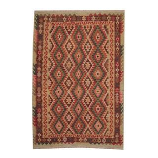 Herat Oriental Afghan Hand-woven Tribal Vegetable Dye Kilim Rust/ Dark Rust Wool Rug (5'8 x 8'5)