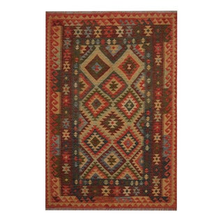Herat Oriental Afghan Hand-woven Tribal Vegetable Dye Wool Kilim (5'5 x 8)