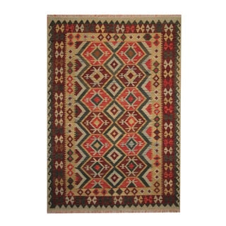 Herat Oriental Afghan Hand-woven Tribal Vegetable Dye Wool Kilim (6' x 8'6)