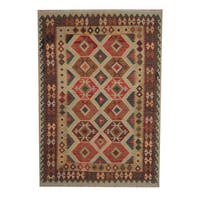 Herat Oriental Afghan Hand-woven Tribal Vegetable Dye Wool Kilim (5'8 x 8') - 5'8 x 8'