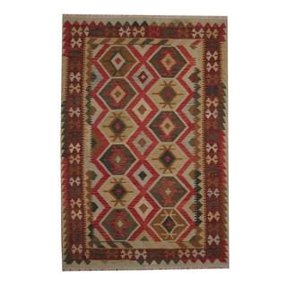 Herat Oriental Afghan Hand-woven Tribal Vegetable Dye Kilim Red/ Rust Wool Rug (5'8 x 8'3)