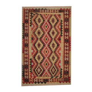 Herat Oriental Afghan Hand-woven Tribal Vegetable Dye Wool Kilim (5'4 x 8'4)