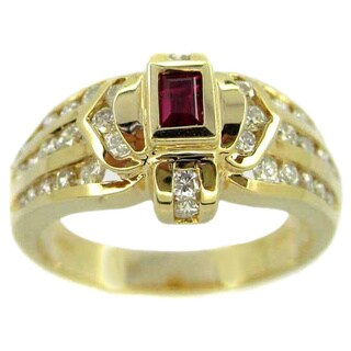 Kabella 14k Yellow Gold 3/5ct TDW Diamond and Ruby Ring (H-I, SI2-I1) (Size 6.25)