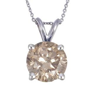 14k White Gold 1ct TDW Champagne Diamond Solitaire Pendant