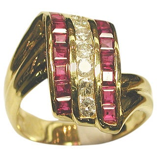 Kabella 18k Yellow Gold 2/5ct TDW Diamond and Ruby Ring (G-H, SI2-I1) (Size 7)