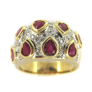 Kabella 14k Yellow Gold Teardrop Ruby and 1/4ct TDW Diamond Ring (I-J, I1-I2) (Size 7)