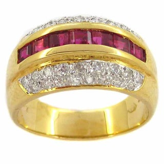 Kabella 18k Yellow Gold Ruby and 2/5ct TDW Diamond Band Ring (H-I, SI2-I1) (Size 7.5)
