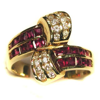 Kabella Luxe 14k Yellow Gold 1/3ct TDW Diamond Ruby Ring (G-H, SI1-SI2) (Size 7)