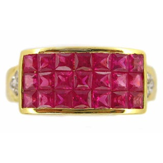 Kabella 18k Yellow Gold Ruby and 1/10ct TDW Diamond Ring (H-I, SI2-I1) (Size 7.75)