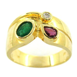 Kabella 18k Yellow Gold Semi-precious Gemstone and Diamond Accent Ring (H-I, I1-I2) (Size 6.5)