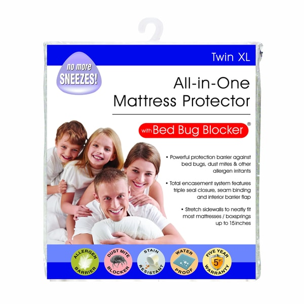 All-In-One Protection with Bed Bug Blocker Twin XL Mattress Protector - White