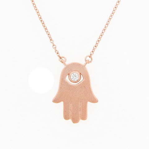 Meredith Leigh Sterling Silver 'Hamsa Hand' Cubic Zirconia Eye Necklace