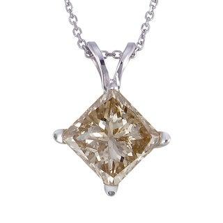 14k White Gold 3/4ct TDW Princess-cut Champagne Diamond Solitaire Pendant